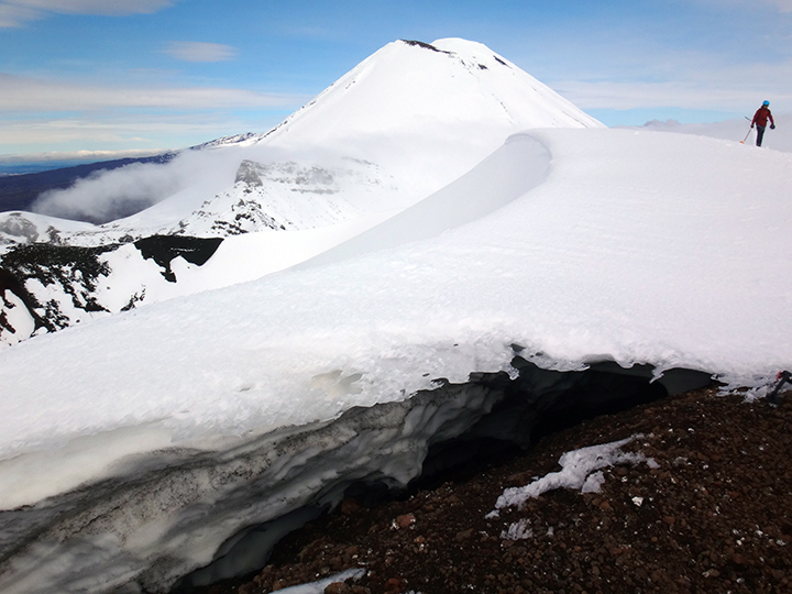 Tongariro alpine crossing in winter, New Zealand